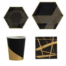 8pcs Black Gold Paper Disposable Tableware Cups Napkin Carnival Christmas Birthday Party Plates Decor Supplies