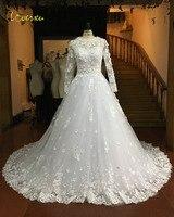 Loverxu Vestido De Noiva Long Sleeve Flowers Wedding Dresses 2017 Appliques Chapel Train A Line Boho Cheap Bridal Gown Plus Size