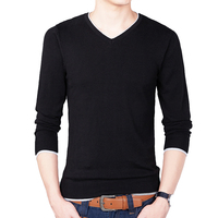 2017 Autumn Mens Pullover Sweaters Cotton Slim Fit V Neck Sweater Jumpers Thin Male Knitwear Black