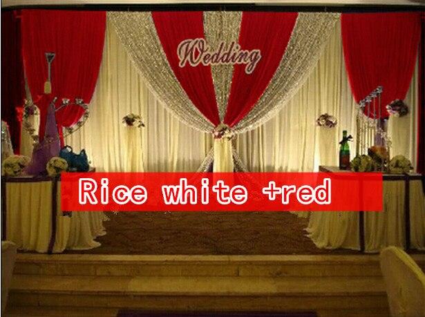 CALDO!! 3*6 m festa di nozze di seta del ghiaccio drapery Riso bianco paillettes di Colore con lo swag fase prop moda Copre la tenda Sullo Sfondo - 5