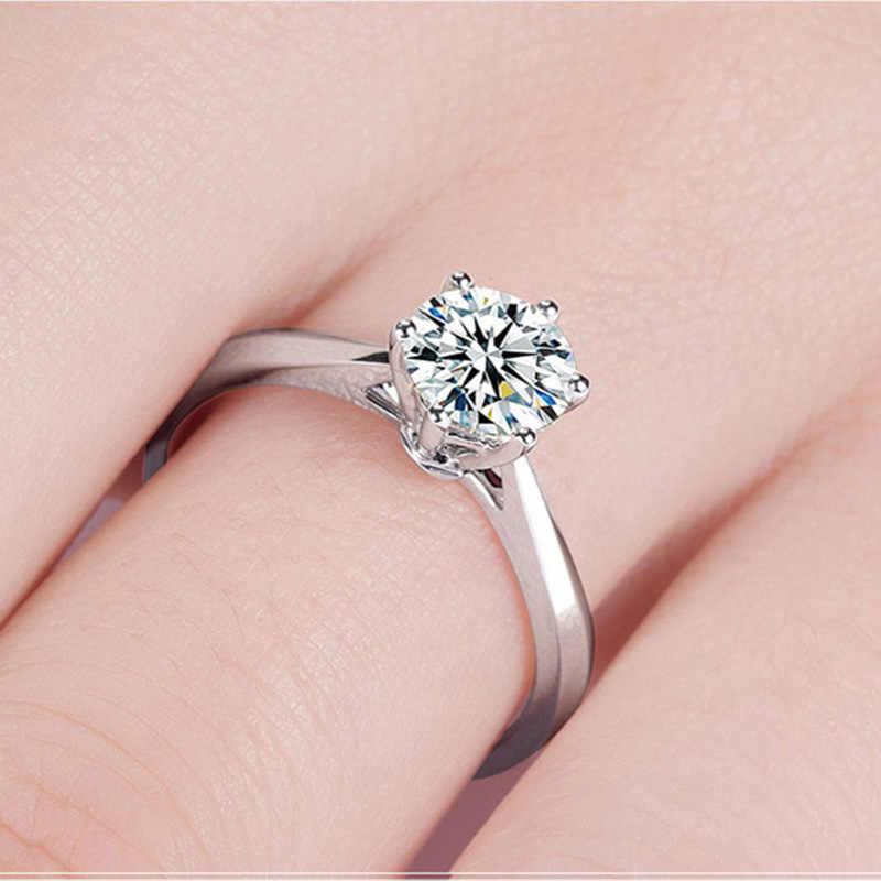 2018 คลาสสิก Minimalist ทองแดงสีขาว CZ งานแต่งงานแหวนทอง/Rose Gold/Silver สีหมั้นแหวนสุภาพสตรี