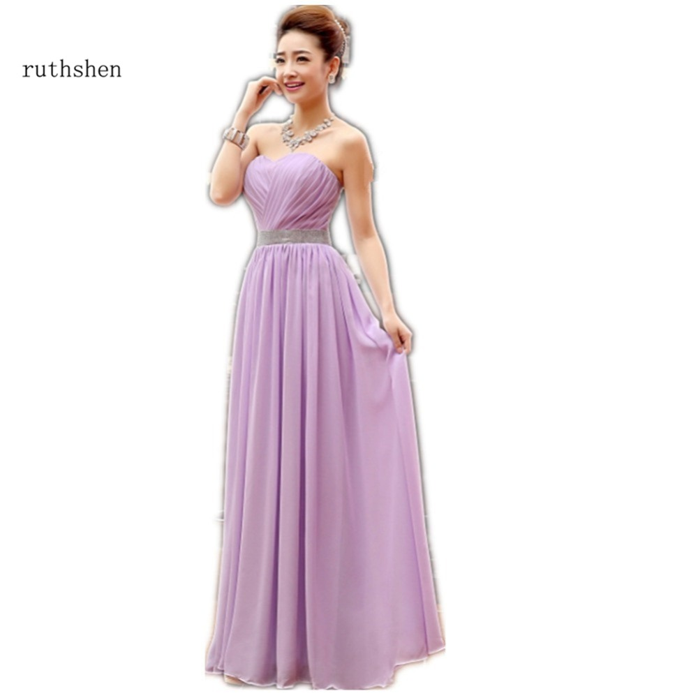 ruthshen Cheap Long   Bridesmaid     Dresses   Sweetheart Pleats 2018 Chiffon Under 50 Purple / Champagne / Lilac Robe De Mariage