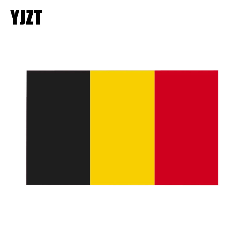 YJZT 14CM*8.2CM Car Sticker Personality Belgium Country Flag Decal PVC 12-1099