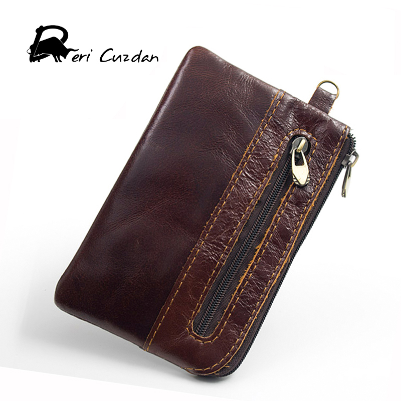 DERI CUZDAN Genuine Leather Slim Wallet Coin Purses for Men Small Women Zipper Small Wallet Men Real Cowhide Leather Men Brown туфли deri