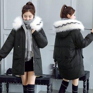 Image 3 - 2020 פרווה סלעית Parka casaco feminino נשי מעיל מעיל בתוספת גודל חורף מעיל נשים מזדמן למטה כותנה ארוך מרופד מעיילי