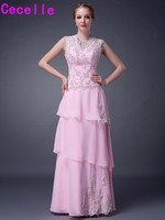 2019 Plus Size Long Floor Tiered Chiffon Mother Of Bride Dresses Sleeveless Beaded Appliques V Neck Dress For Brides Mother