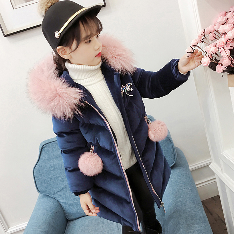 цена 2018 New Children Winter Jacket Girl Winter Coat Kids Warm Thick Fur Collar Hooded Long Cotton Coats for Teenage Clothes 4-12T