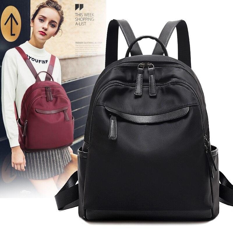 Oxford sac à dos femmes adolescent sac à dos avec trou d'écouteur toile sacs d'école noir voyage sac à dos femme sac à dos décontracté