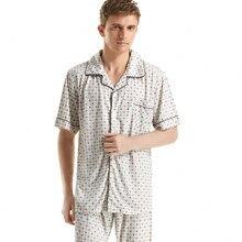 2016 New Pokka Dot Printed Pajama Sets Plus Size Short-Sleeved Cotton Pyjamas Sexy Men's Sleep wear Underwear Sets Casul Lounge