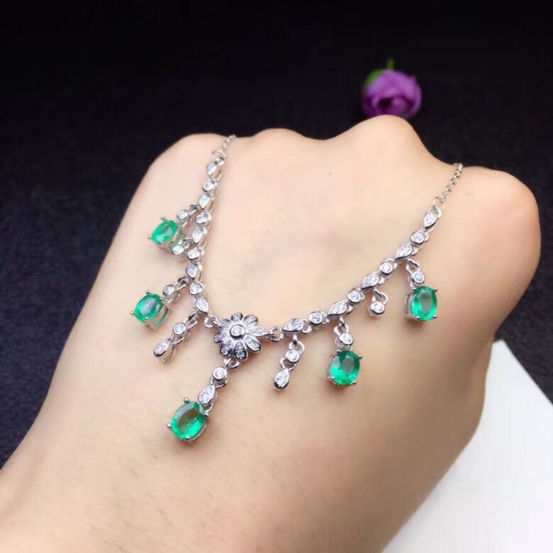 Green Emerald Necklace Pendant Natural Gem Stone Jewelry Genuine 925 Sterling Silver