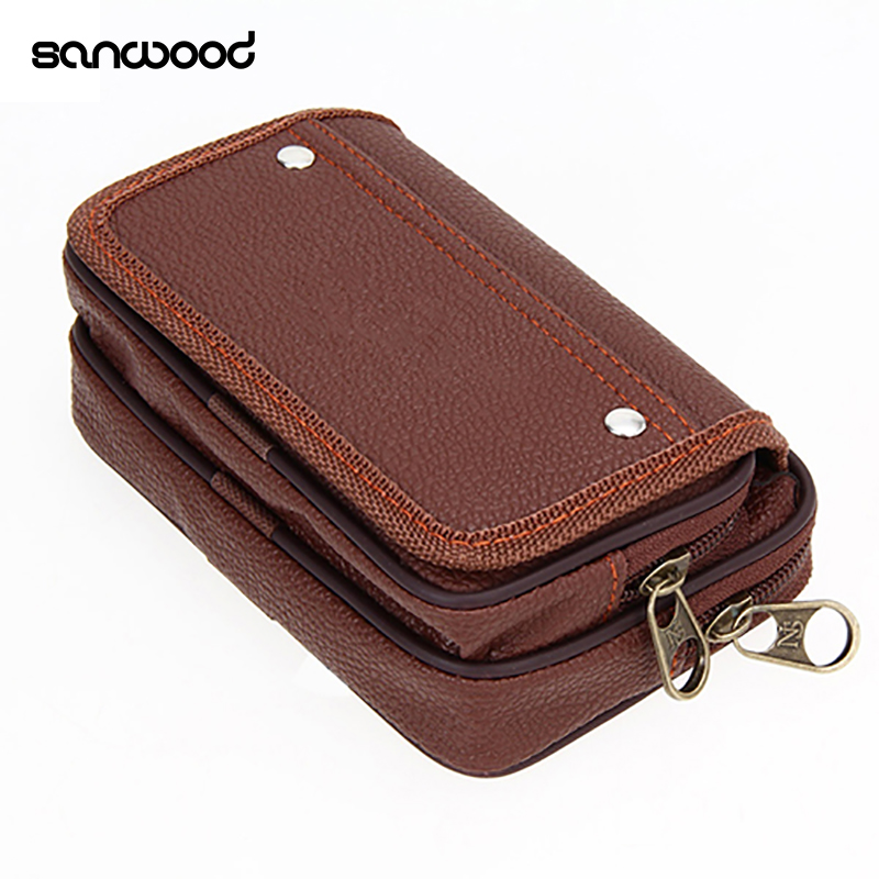 Men's Faux Leather Wallet Credit Card Phone Holder Casual Hanging Belt Purse non woven fabrics hanging type 18 cd dvd card holder beige