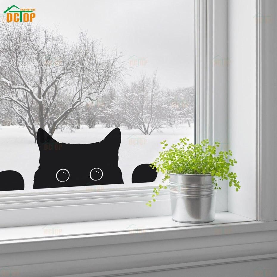 Mignon chatons Peeping chat Stickers muraux pour enfants chambres réfrigérateur dessin animé animaux chat Stickers muraux Art Mural fenêtre autocollant décor à la maison