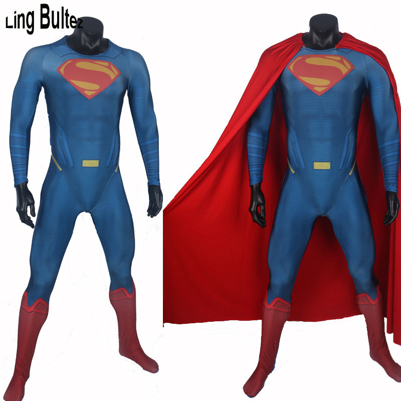 Ling Bultez High Quality Muscle Shade 3D Logo Superman Spandex Costume Adult Man of Steel Suit Movie Superman Costume Any Size