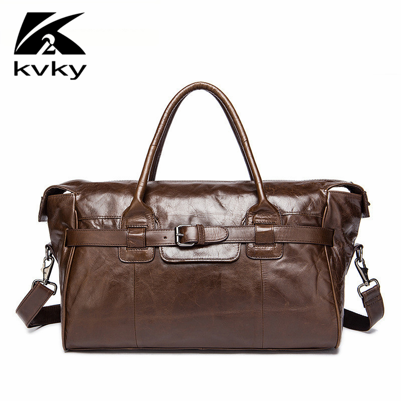 KVKY Fashion Brand Genuine Leather Men Travel Bag Casual Large Capacity Men Shoulder Bag Designer Handbags High Quality Luggage high quality authentic famous polo golf double clothing bag men travel golf shoes bag custom handbag large capacity45 26 34 cm