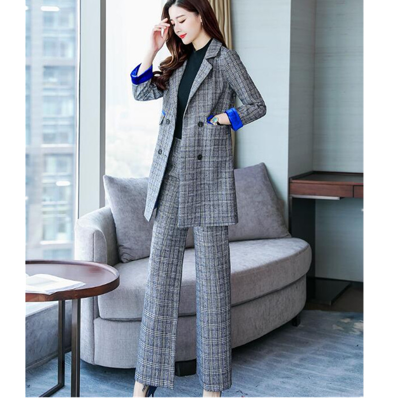 Women's Suit Women's Long Double-breasted Suit Two-piece Suit (coat + Pants) Spring And Autumn New Fashion Slim Slimming Dress
