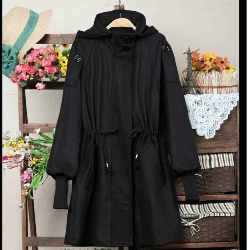 TOTRUST Black Long Hooded Wool Coats Women 2017 Winter Long Sleeve ...