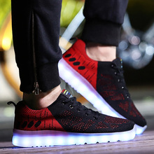 2017 New LED Light up Shoes for Adults  Fashion Colorful Luminous Shoes with USB Rechargeable Lovers Men Shoes with LED Lights