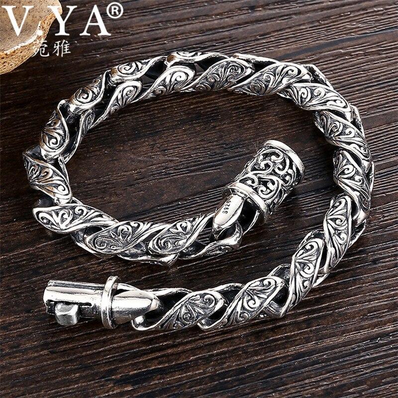 V YA 8mm Mens Bracelet 925 Silver Retro Vintage S925 Sterling Silver Link Chain Bracelet Men
