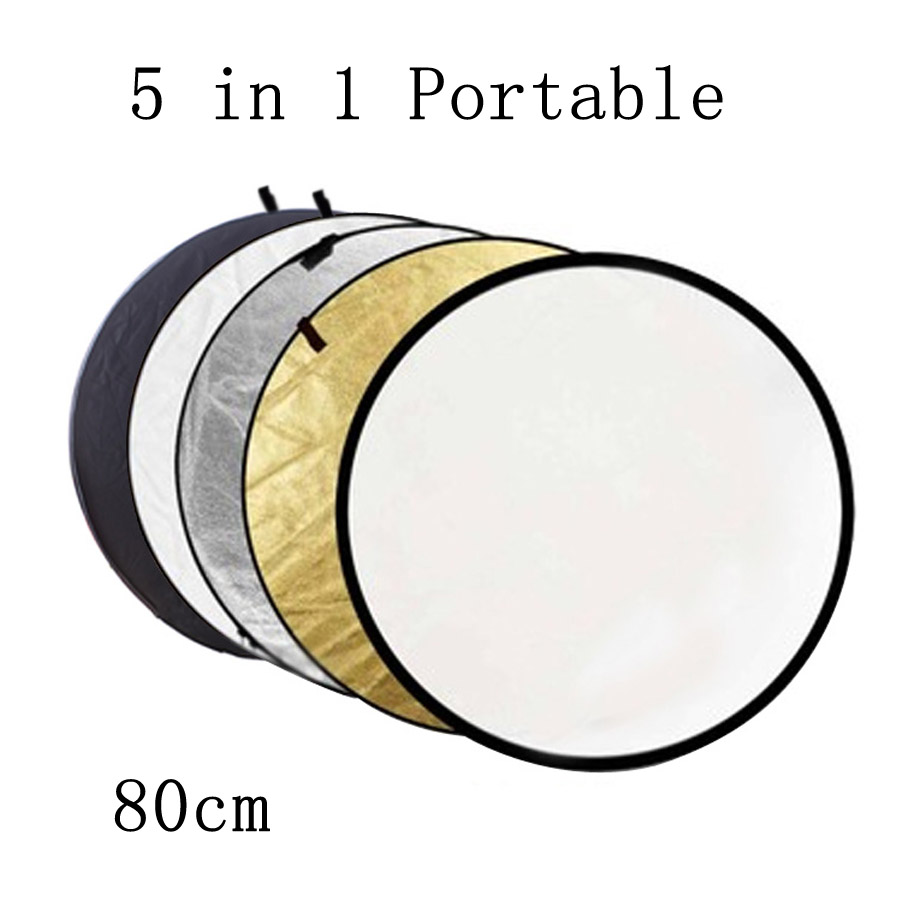 BIZOE 80cm 5 In 1 Portable Collapsible Light Round Photography Reflector For Studio Multi Photo Disc Outdoor Studio Reflector