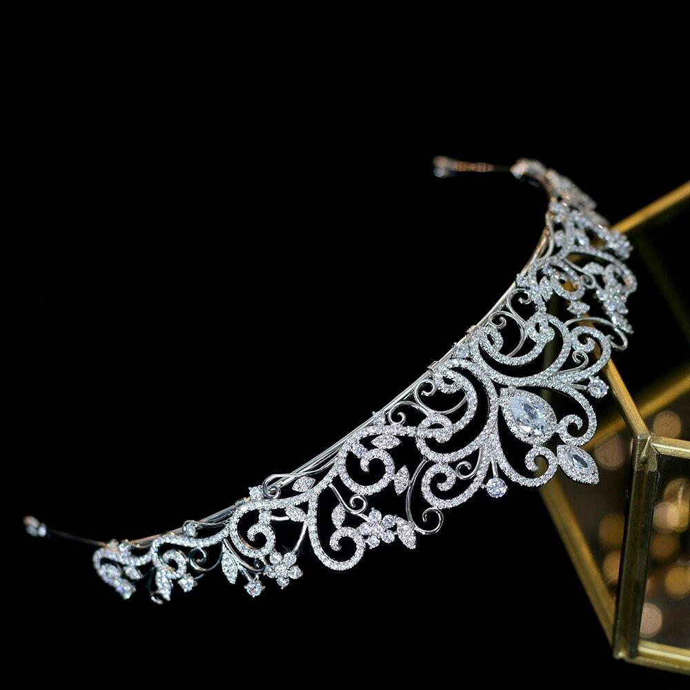 Classic love European zirconia tiara nupcial corona de cristal chapado vestido de novia con la novia