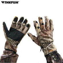 Full / 3 Half Finger Gloves Winter Thick Warm fishing gloves Bionic Mossy Oak Camouflage Camo Anti-Slip Hunting Fishing Gloves