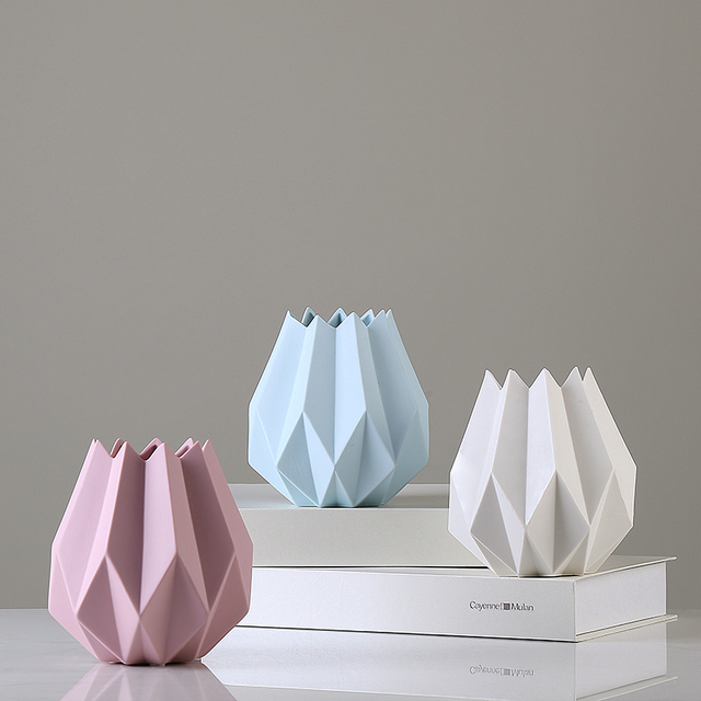 Nordic Modern Minimalist Floral Color Ceramic Vase Origami Design Desktop  Ornaments Decoration Fashion Crafts Living Room