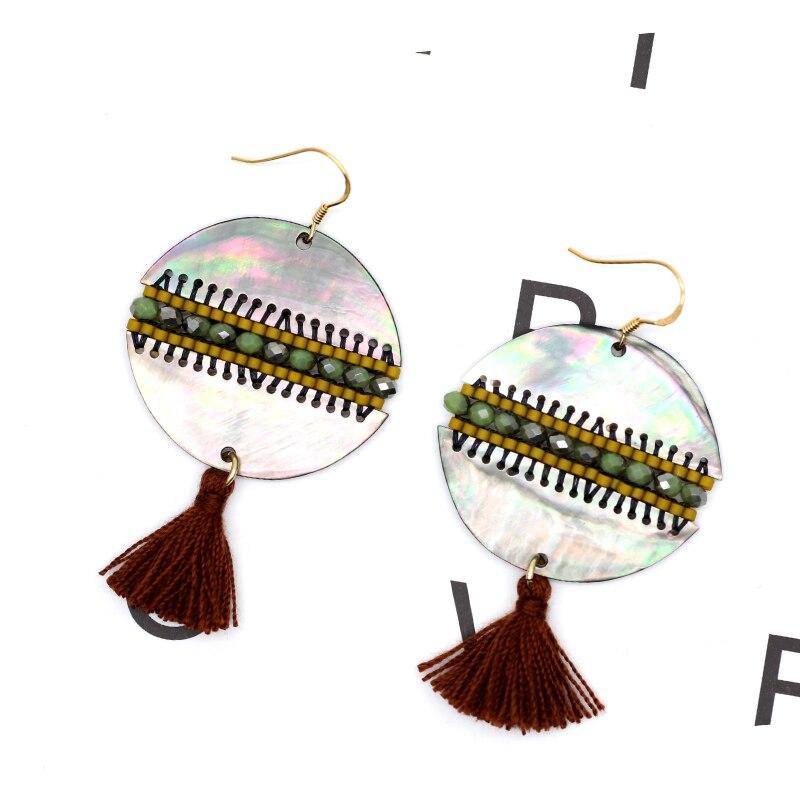 Ethnic Double Shell Resin Accessories Cotton Tassel Pendant Woven Miyuki Beaded Handmade Earrings Decorate Dresses Woman Earring