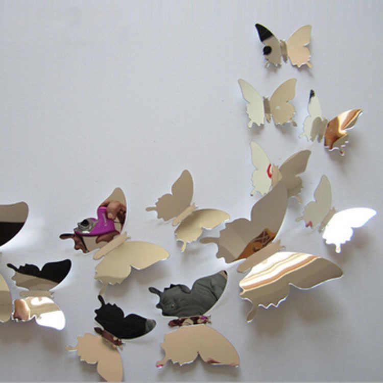 12 قطعة/المجموعة جديد وصول مرآة الشظية 3D فراشة ملصقات جدار حزب الزفاف ديكور DIY ديكور المنزل