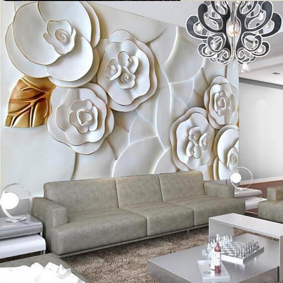 US $8 55 OFF Beibehang Foto Wallpaper Timbul Wallpaper Dinding Kertas Modern Minimalis Ruang Tamu TV Latar Belakang Mawar Putih 3D