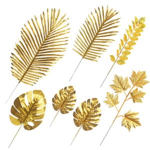 Image 1 - 5Pcs Artificial Gold Palm Leaves DIY Plant Home Party Wedding Birthday Table Decoration Baby Shower Party Supplies