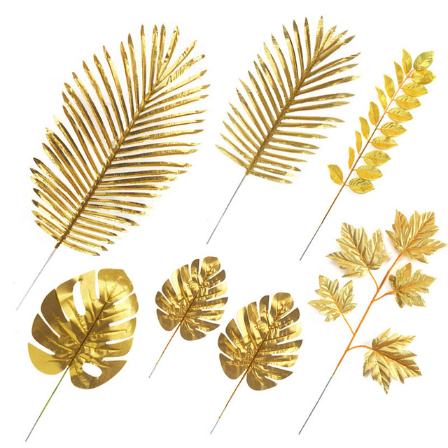 5Pcs Artificial Gold Palm Leaves DIY Plant Home Party Wedding Birthday Table Decoration Baby Shower Party Supplies
