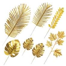 Planta DIY de hojas de Palma de Oro Artificial, Decoración de mesa de cumpleaños de boda, fiesta de bienvenida al bebé, suministros para fiesta, 5 uds.