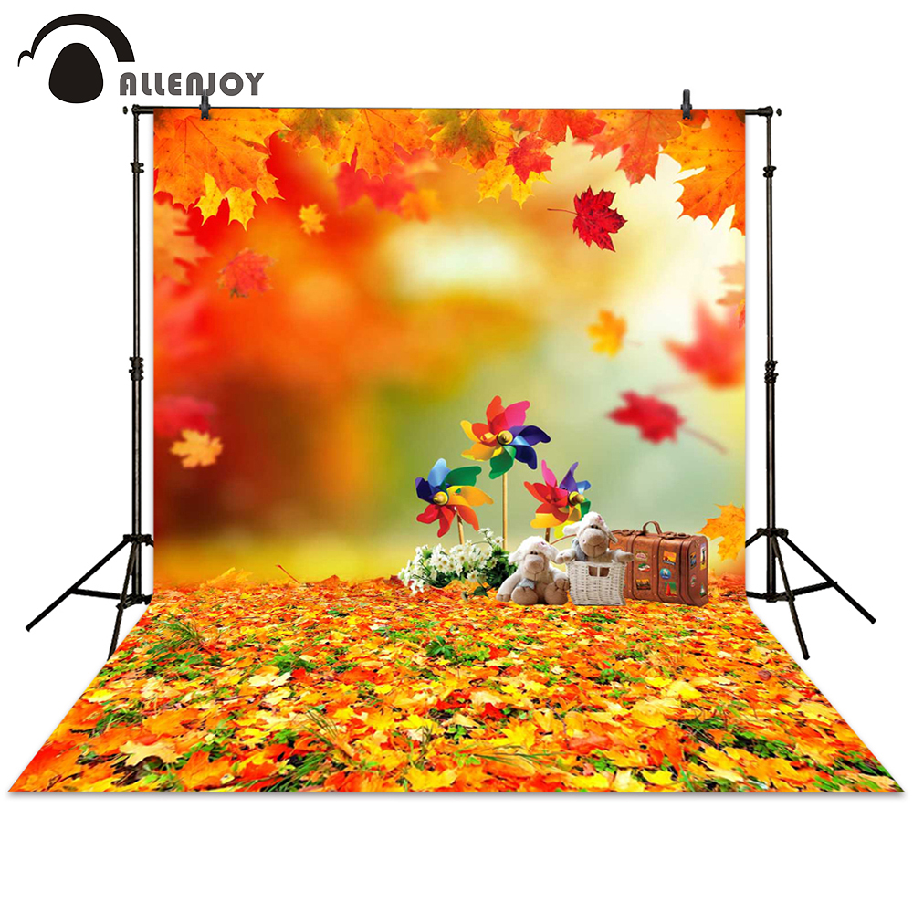 Allenjoy photo background toy maple leaf windmill autumn backdrops children photography photocall photo booth
