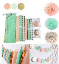 Mint Peach Gold Tissue Paper Pom Tassel Polka Dot Garland for Party Decoration