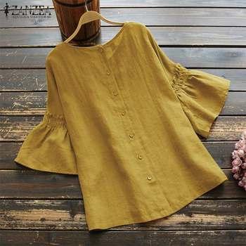 2019 ZANZEA Vintage Ruffle Sleeve Tops Summer Women's Blouse Casual Linen Tunic Female O Neck Blusas Mujer Shirt Plus Size S-5XL 8