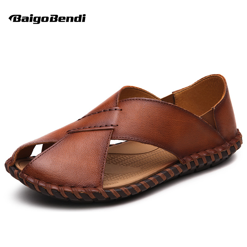 US6 7 8 9 10 Let Vægt Ægte Læder Casual Slipper Close Toe Thong Sandal Slides Herre Sommer Strand Sko