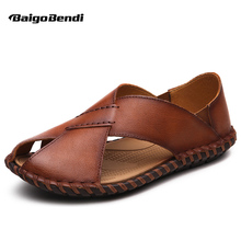 US6 7 8 9 10 Light Weight Genuine Leather Casual Slipper Close Toe Thong Sandal Slides Mens Summer Beach Shoes