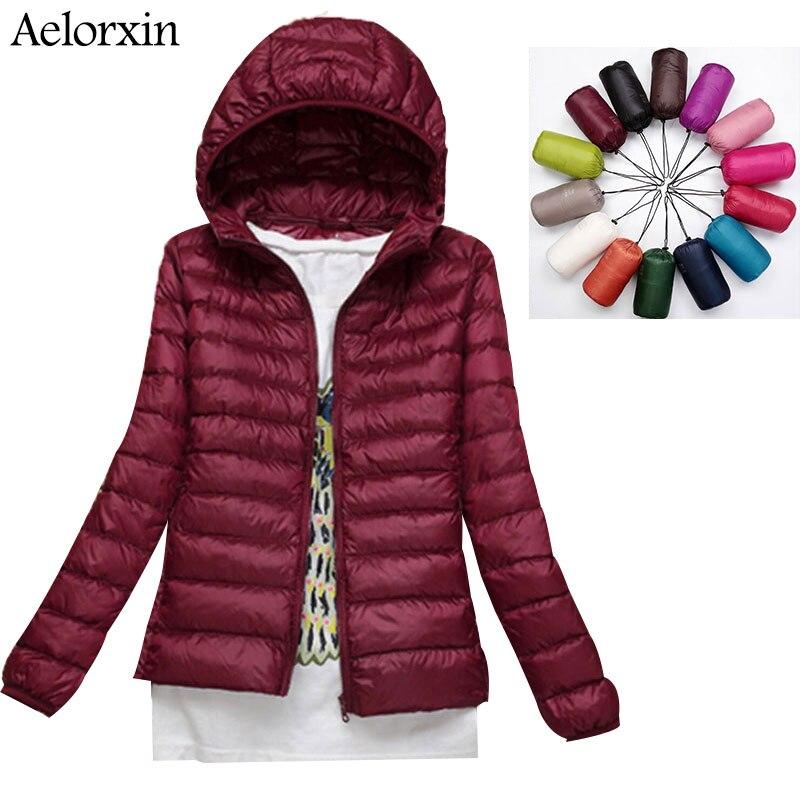2016 Aelorxin Women Ultra Light Down Jacket Hooded Winter Duck Down Jackets Women Slim Long Sleeve Parka Zipper Coats Pockets
