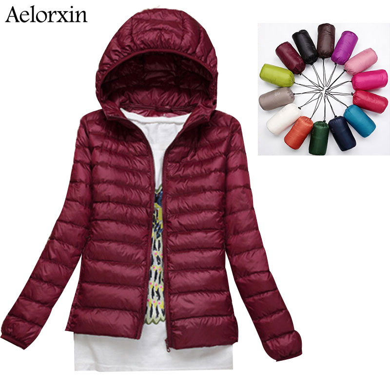 2017 Aelorxin Women Ultra Light Down Jacket Hooded Winter Duck Down Jackets Կանացի բարակ երկար թև Parka Zipper վերարկուների գրպաններ