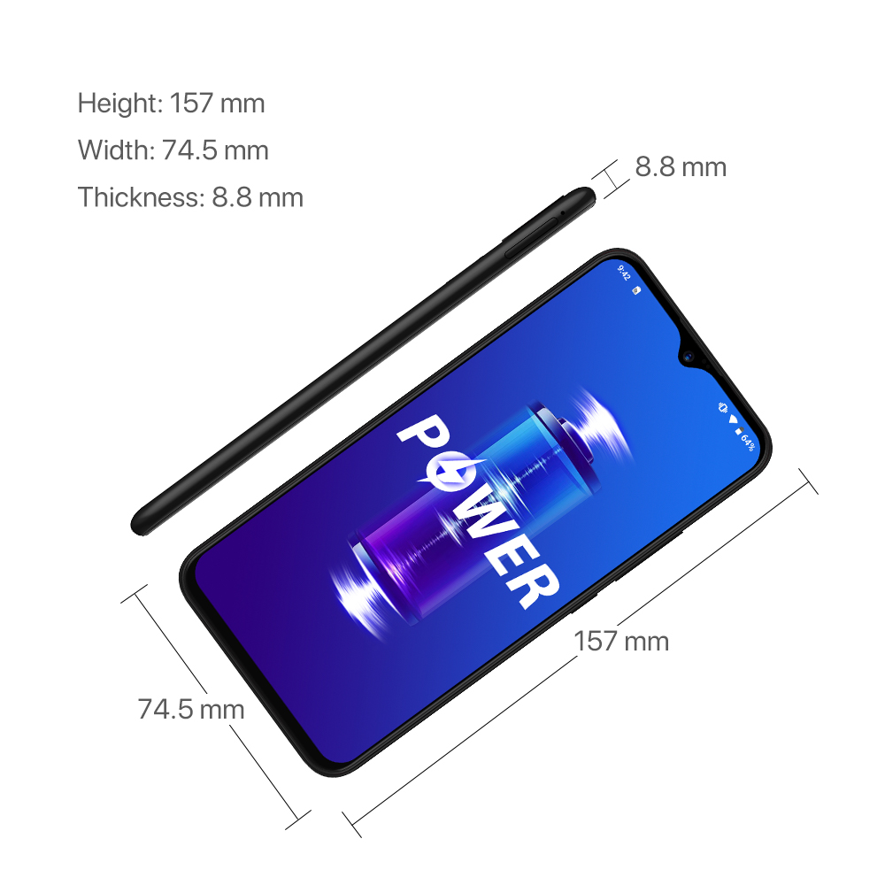 UMIDIGI Power, Android 9,0, 5150 мАч, большая батарея, 18 Вт, 6,3 дюйма, FHD + экран, 4 Гб + 64 ГБ, Helio P35, глобальная версия, смартфон 16MP