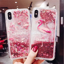 Quicksand Cartoon Flamingo phone case For iphone XS MAX XR X Soft plastic Dynamic liquid 6 6s 7 8plus Back cover
