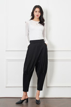 women casual harem pants with chain solid black pant cool fashion hip hop long trousers capris(China)