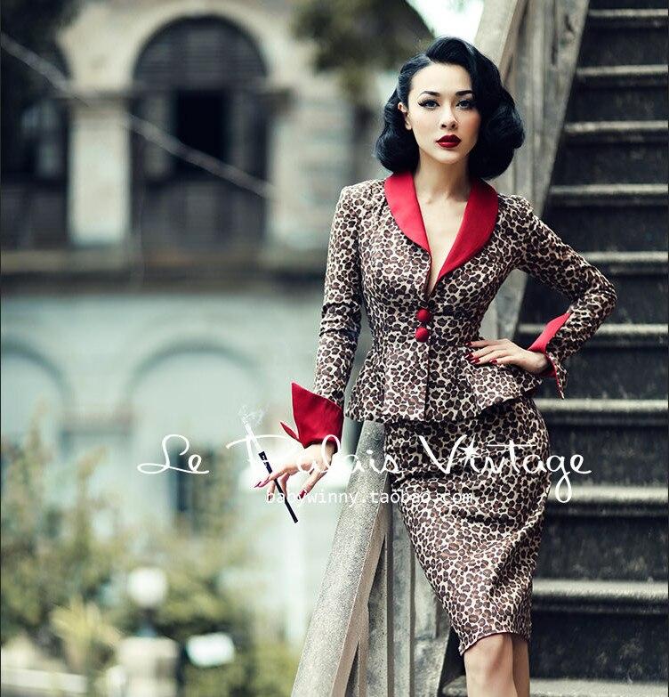 Le Palais Vintage automne deux pièces ensemble léopard moulante robe 2 pièces ensemble femmes recueillir taille crayon robes haut court tenues