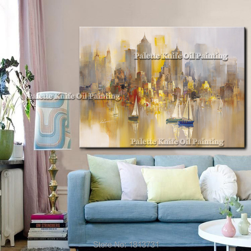 New York City Painting Home Decor Home Decoration Oil painting Wall Pictures for living room Home Decor paint Wall art paint in Painting Calligraphy from Home Garden