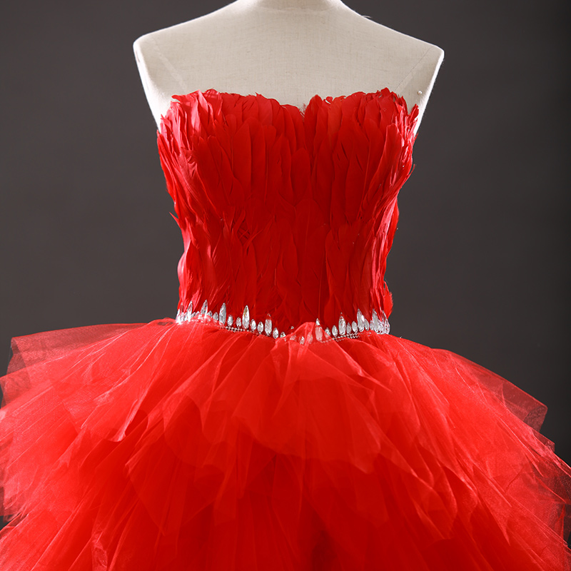 Red Sweetheart Ruffled Bling Sequins Feather Organza Short Front Long Back  Prom Dresses emerald green cocktail dresses 2018 -in Cocktail Dresses from  ... 47fbf61629c0