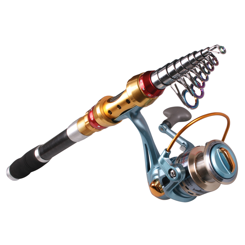 Free shipping 1.8 2.1 2.4 2.7 3.0 3.6m carbon telescopic Fishing Rod Combo Casting fishing Rod with spinning Reel Set pcase