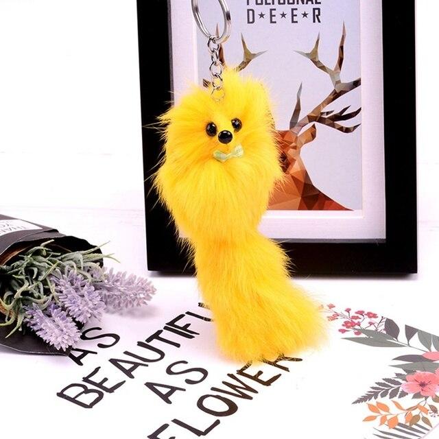 Mulheres de Pele De Raposa Fofo Poodle Keychain Chaveiros Chaveiro Para Carros Chaveiros Bugigangas Carro Pom Pom