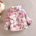 2016 meninas do bebê casaco quente jaqueta de inverno flor de manga comprida crianças Da Pele Do Falso de algodão-acolchoado roupa dos miúdos de natal outwear