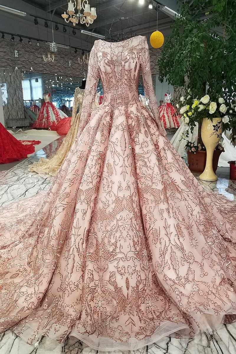 59abf681ee4 ... Rose Gold Wedding Dress Bling Bling Sequins Bridal Ball Gown 2018 Gold  Bridal Wedding Gowns Arabic ...