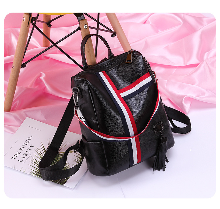 a3d71ff0cf Fashion tassel women leather backpacks Striped shoulder strap Student  School Backpack youth Book Bag Mochila Feminina